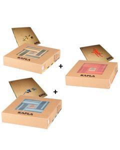 Kapla - Bouwblokjes - Color – 3x40 stuks - 6 Kleuren + 3 Boeken