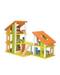 Plan Toys - Poppenhuis met meubeltjes - Hout