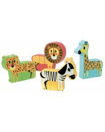 Vilac - Set van 4 magnetische dieren 'savanne'